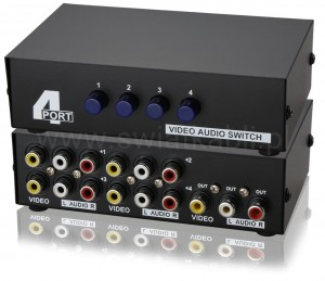 SWITCH 4IN1 AV RCA CHINCH 4x rozgałęźnik ADAPTER